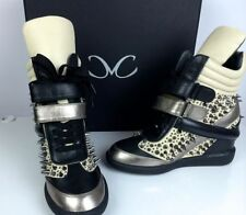 Monika Chiang Artemys Spiked Wedge Sneakers Shoes NIB Taupe/Pewter/Black