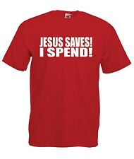 JESUS SAVES I SPEND funny religion slogan music guitar tee mens womens T SHIRT