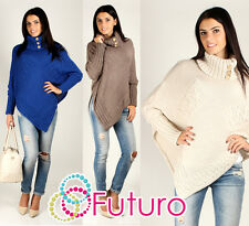 NEW☼ Sensible Women's Thick Heavy Poncho ☼ Turtleneck Style Buttons Jersey FAS09