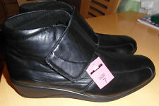 "BNIB BLACK ""100% SOFT LEATHER"" ANKLE BOOTS + WIDE VELCRO FASTENING by FLEXIFEET*"