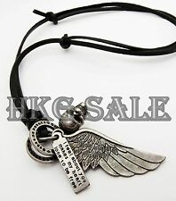 Antique Vintage Wing Skull Mens Genuine Leather Necklace Charm Pendant Unisex