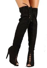 Interest-187 Black Leopard Suede Thigh High Boot Lace-up Peep Toe Stiletto Heel