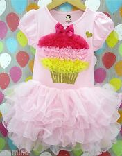 Girls Birthday Cupcake Pink Party Tutu Dress for Ages 2 to 6 NWT
