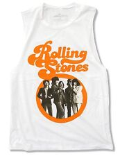 """ROLLING STONES """"RETRO STONES"""" WHITE MUSCLE T-SHIRT NEW OFFICIAL JUNIORS"""