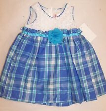 BNWT GIRLS WHITE AND BLUE TARTAN PARTY DRESS - SIZE 000 TO 6