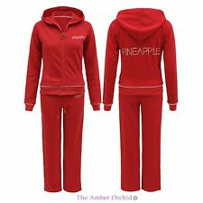 LADIES WOMENS HODDIE JOGGING SUIT PINEAPPLE STUD SWEATSHIRT PANTS TRACKSUIT