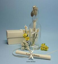 IN LOVING MEMORY MESSAGE IN A BOTTLE + DETACHABLE CLIP ON CHARM