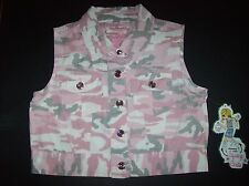 Squeeze Girls Vest Cropped Sleeveless Select Sz S M L XL Pink Camoflauge NWT