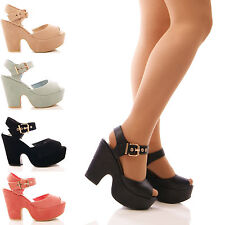 LADIES WOMENS LOW WEDGES PLATFORM DEMI ANKLE STRAP HEELS PARTY FORMAL SHOES SIZE
