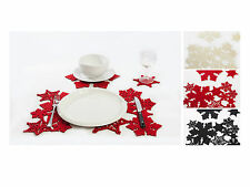 16-Piece Christmas Table Dish Mat Set, Snowflake Coasters Placemat Tablemat Xmas