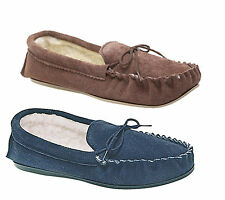 Mokkers SHERIDAN Mens Suede Leather Warm Lined Faux Fur Comfy Moccasin Slippers