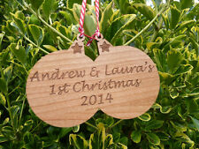 Personalised Christmas tree baubles: Engraved wood decorations for Couple