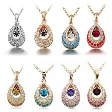 Fashion Womens Crystal Alloy Waterdrop Pendant Jewelry Rhinestone Plated Chain