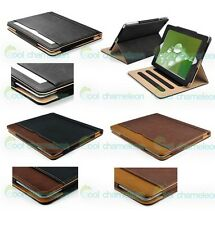 Black & Tan Leather Wallet Smart Case Cover Stand Sleep Wake For New iPad 4 3 2