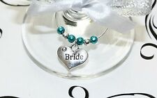 Wedding Wine Glass Charms -Top Table - Teal  - Choice of Charms/Colours