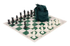 Drawstring Chess Set Combination - Triple Weighted Pieces | Vinyl Chessboard | D