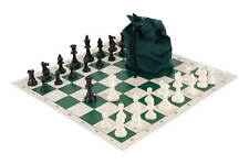 Drawstring Chess Set Combination - Single Weighted Pieces | Vinyl Chess Board |