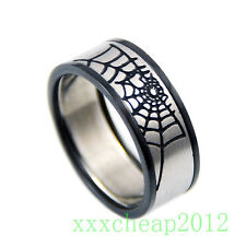 Cool Spiderman cobwebs stainless steel ring 1pcs A64