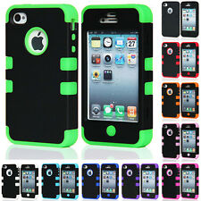For Apple iPhone 4 4S 5 5S Hybrid Sillicone Rubber Hard Heavy Duty Case Cover