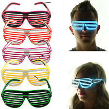 EL Wire Neon LED Light Up Shutter Shaped Glasses for Rave Costume Party HOT
