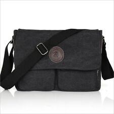 Men's Vintage Canvas Leather Shoulder Bag Messenger Bag School Military #047