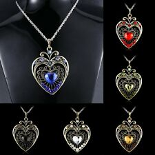 Retro fashion Crystal Heart Pendants Necklaces Sweater Chain Rhinestone Gifts
