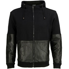VIPARO Black Partial Leather Sleeve Hooded Bomber Cotton Jacket - Trent