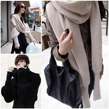 Unisex Knitted Loose Batwing Sweater Wrap Long Sleeve Coat Cardigan Warm Scarf