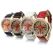 NEW Lady Round Dial England UK British Flag Crystal Leather Quartz Wrist Watch