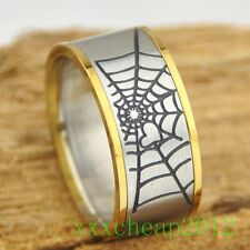 10mm cool Spiderman cobwebs stainless steel ring 1pcs A106