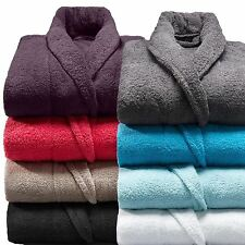 100% Cotton Terry Towelling Adults Shawl Collar Bathrobe Dressing Gown Bath Robe