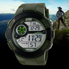 Mens Digital LED Rubber Band Fashion Military Sport Watch Alarm Date Wristwatch