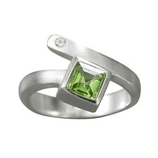 schmuck-michel Ring Silver 925 Peridot Carré 0,8 CT - Size 50-65 to choose