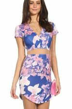 Gorgeous Floral Print Short Sleeve Bodycon Dress with See Through Waist (110839)