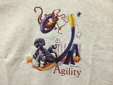 Dog Agility - Portuguese Water Dog Over the Teeter Totter Graphic Art Tee Shirt