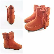 NIB Toddler Girls Cute Ankle Casual Boots- Orange Moccasins w/ Fringe Faux Suede
