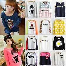 Women Casual Flocking Fleece Sweaters Print Tee Tops Sweatshirt Hoodies Pullover
