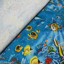 FFA-126 FISHES IN BLUE OCEAN COTTON LINEN CANVAS UPHOLSETERY FABRIC BY 0.5 Yard
