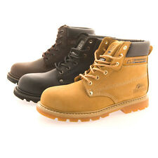 MENS GROUNDWORK LEATHER STEEL TOE CAP LACE UP SAFETY BOOTS WORK WEAR - 3 COLOURS
