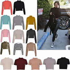 Women Ladies Turtle Polo Neck Knitted Knitwear Jumper Sweater Tank Crop Top 8-14