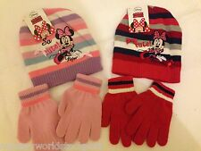 disney minnie mouse pull on hat & glove set girls hats gloves pink lilac navy