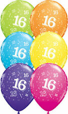 16th Birthday 1x28cm Balloon  Party Supplies Decorations Pink Purple Blue Yellow