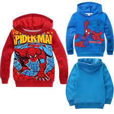 Kids Baby Boys Spiderman Sweatshirt PulloverHoodies Coat Clothing 2-8 Yars Old