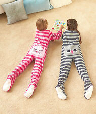 GIRLS ANIMAL BOTTOM FOOTED STRIPPED PAJAMAS IN PINK OR GRAY