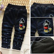 Kids Boys Girls Casual Clothes Mickey Pants Jeans Winter Thick Trousers Sz 2-6Y