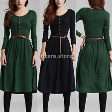 Women Winter Warm Vintage Long Sleeve Round Neck Long Slim Dress Skirt With Belt