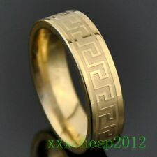 Fashion gold Engraved Great Wall Stainless Steel Ring A168