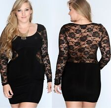PLUS SIZE Sexy Long sleeve Hollow out Women's black lace Sexy Club dress D402
