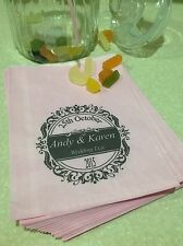 Personalised Solid Pastel Pink Sweet Bags, Wedding, Vintage, Engagement, Chic