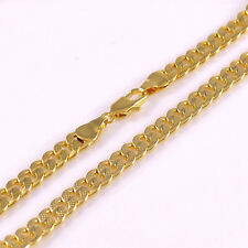 Men's 5mm 18K Gold Plated Cuban Curb Link Neck Heavy Chain Necklace N016